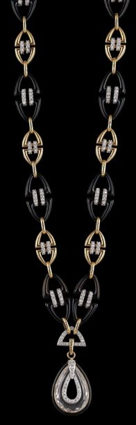 A Manhattan Minimalism Necklace by David Webb gold 750, platinum 950, some ename…