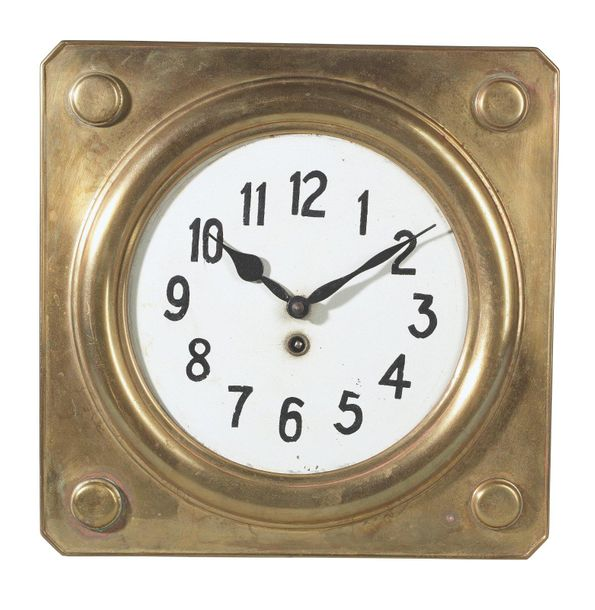 A wall clock, designed c. 1920 square shape; brass; enamelled dial with black pa…
