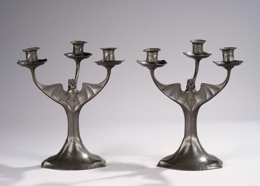 Attributed to Hugo Leven (Germany, 1874 1956), a pair of three light candelabra …