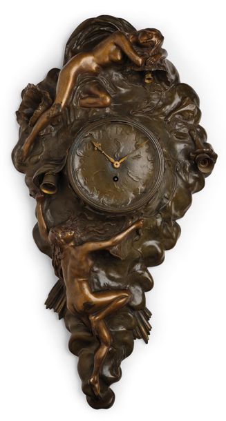 Henri Fugère (France 1872–1944), a wall clock with two female figures, designed …