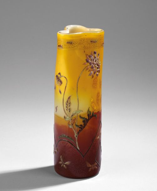 "A rare long stem trefoil vase, ""Scabiosa"", Emile Gallé, Nancy, c. 1893/94 thick …"