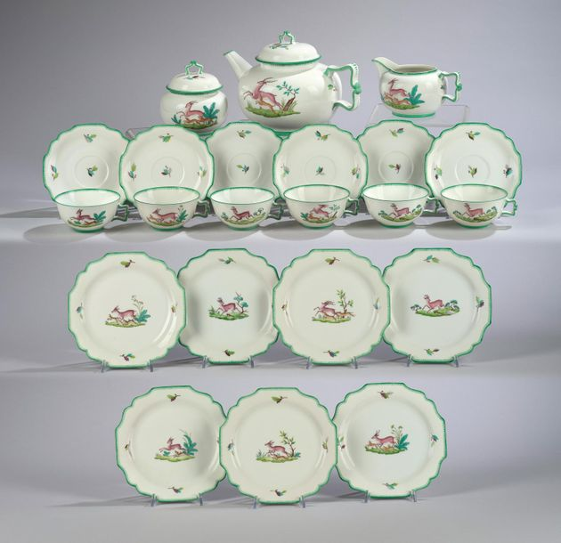 A tea service for six persons (22 pieces) with varied hunting motifs, form desig…