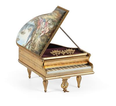 """An Enamel Paintwork Musical Mechanism, """"Grand Piano"""" musical mechanism with one …"""