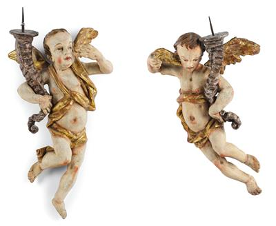 A Pair of Baroque Light Bearing Angels, South German, c. 1760 80, wood carved in…