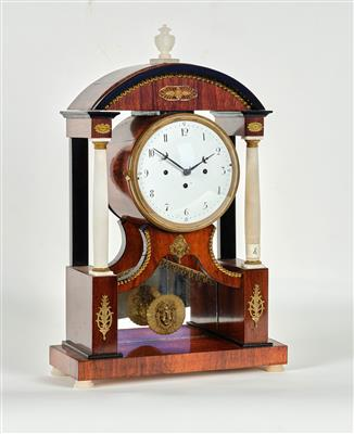 A Biedermeier Commode Clock spring driven movement, power reserve: 1 day, 4/4 ho…