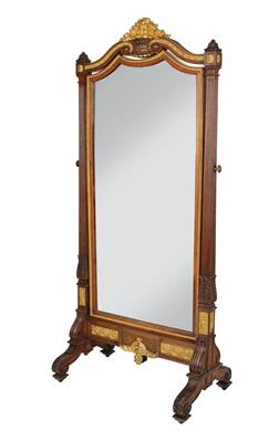 A Tall Neo Classical Dressing Mirror, so called psyche or cheval glass, late 19t…