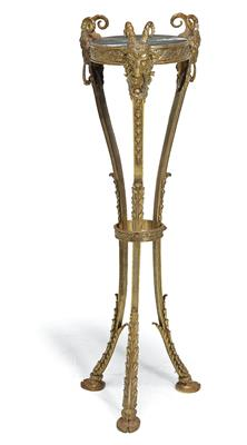 A Neo Classical Table, so called guéridon, c. 1900, curved bronze tripod frame t…