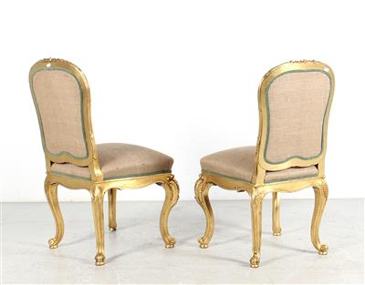 A Pair of Chairs, modified Louis XV style, second half of the 19th century, hard…