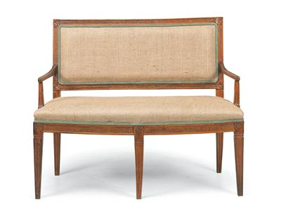 A Small Josephinian Settee, Late 18th Century, solid walnut frame on conical flu…