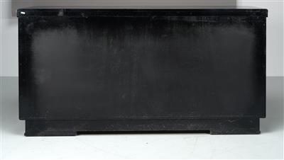 A Large Art Deco Sideboard, c. 1935/45, flaring wooden frame with black matte fi…