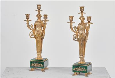 A Pair of Girandoles, late 19th/early 20th century, figural bronze shafts on rec…