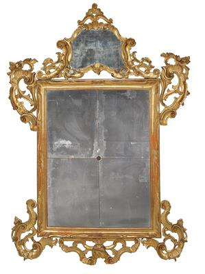 A Large Baroque Wall Mirror, Veneto, 18th century, softwood frame carved with ro…
