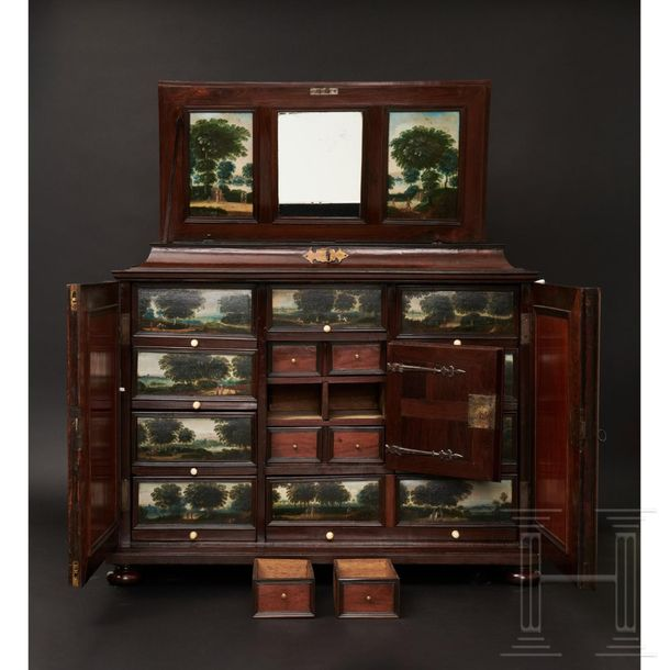 A rare Antwerp cabinet with rosewood veneer and painted interior, circa 1680 The…