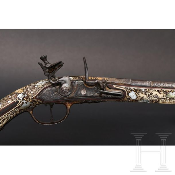 A notable pair of Silesian flintlock pistols with lavish bone inlays, circa 1690…