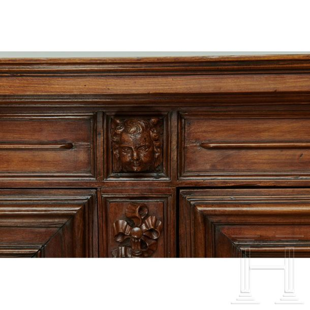 A large French wooden sideboard, circa 1700  The buffet à deux corps in stained …