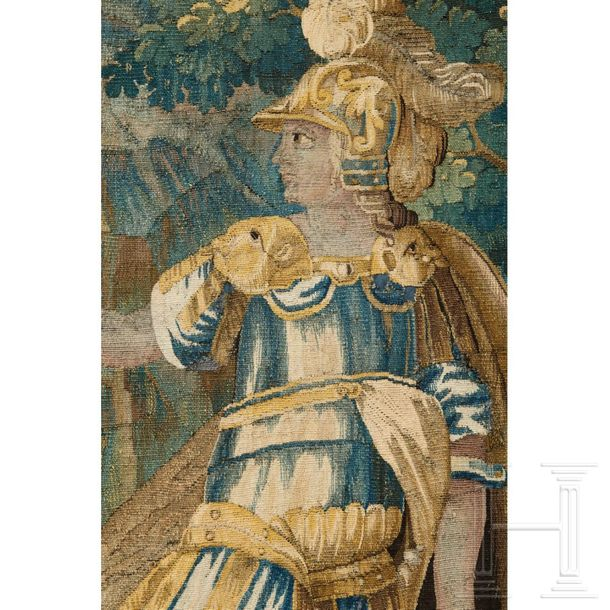 A French tapestry, 18th century  The large tapestry woven in shades of green wit…