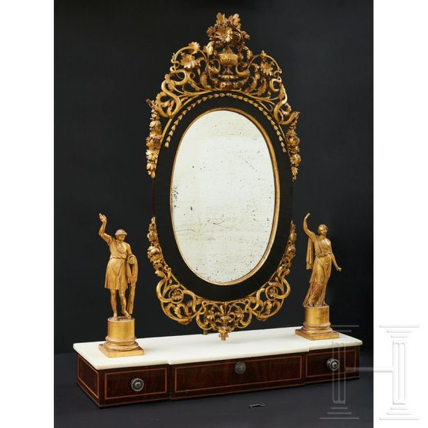 A fabulous Italian cheval glass (psyche), Piemont, 18th century  The mirror in a…