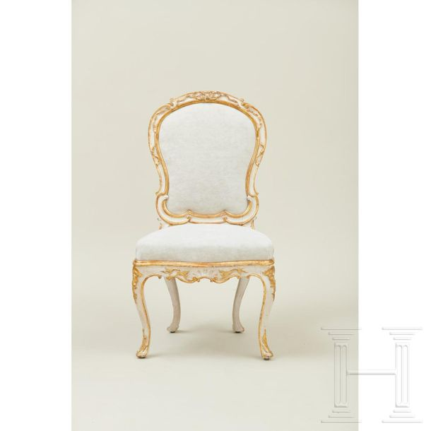 A set of Venetian dining room chairs, 2nd half of the 18th century  Eight chairs…