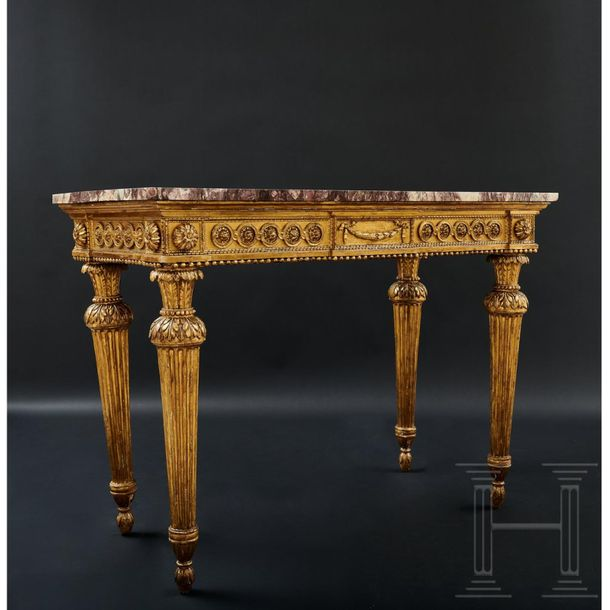 An Italian Louis XVI console, circa 1790   The gold patinated, Louis Seize conso…