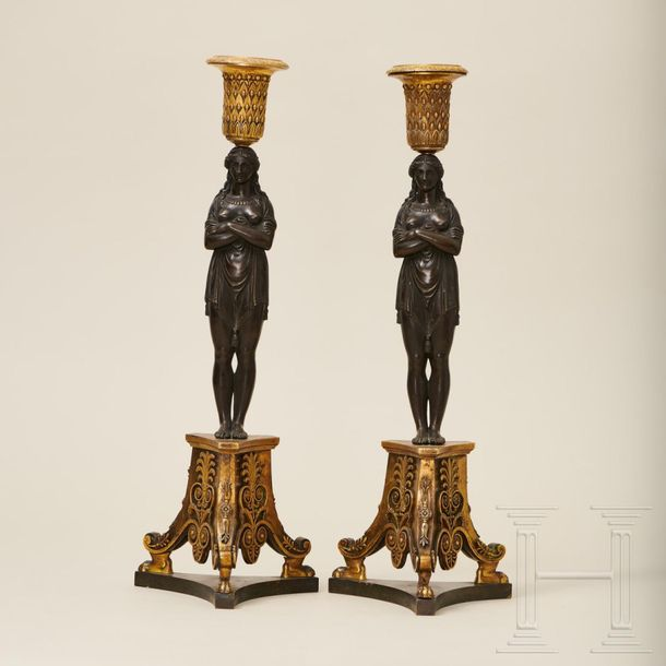 A pair of Empire caryatid candelabras, modelled after Thomire Duterme et Cie, ci…