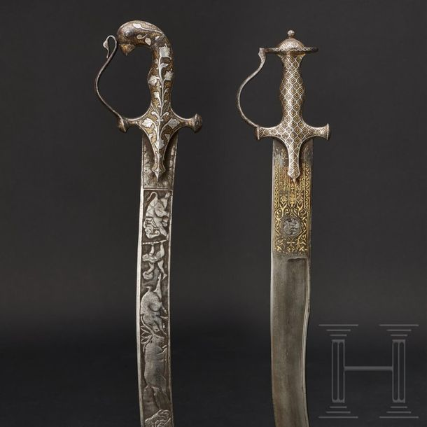 Two Indian tulwars with gold and silver inlays 19th century One is a hunting swo…