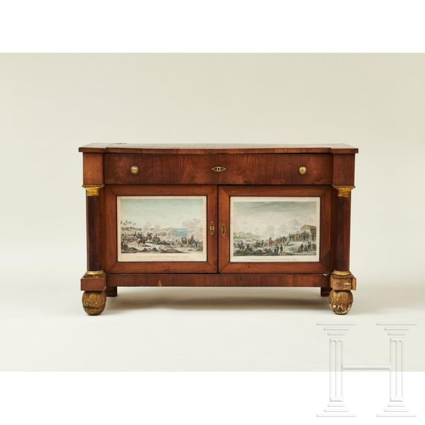 Two Tuscan Empire style sideboards, early 19th century  A pair of sideboards sta…