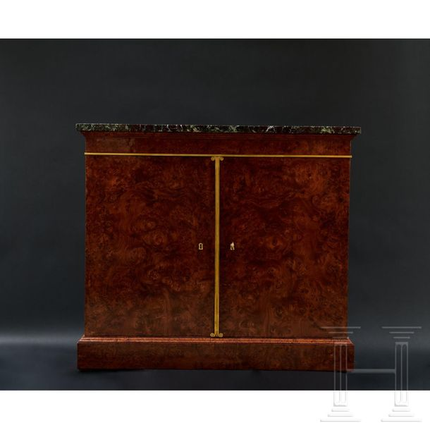 A French Charles X wooden half cabinet, circa 1820  The two door half cabinet wi…