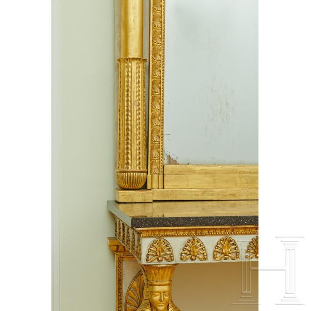 An Egyptian style console table, probably Tuscan, circa 1830  The console table …