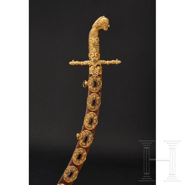 A gold mounted sabre for a Hungarian magnate, circa 1830 The strongly curved, si…