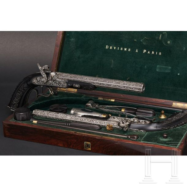 A significant pair of cased deluxe percussion pistols, Devisme of Paris, dated 1…