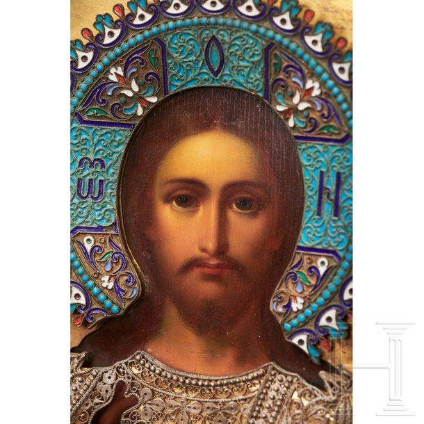 "A splendid Russian icon ""Christus Pantokrator"" with silver and partly enamelled …"
