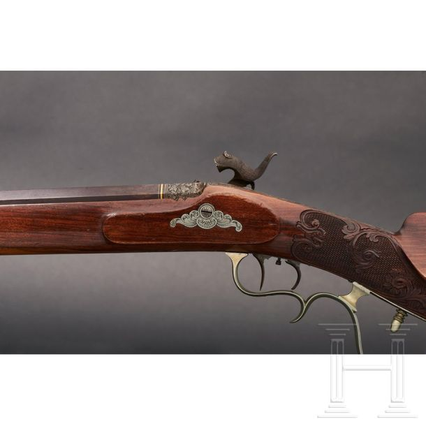A deluxe percussion rifle from a princely estate, Siegen, circa 1850 The octagon…