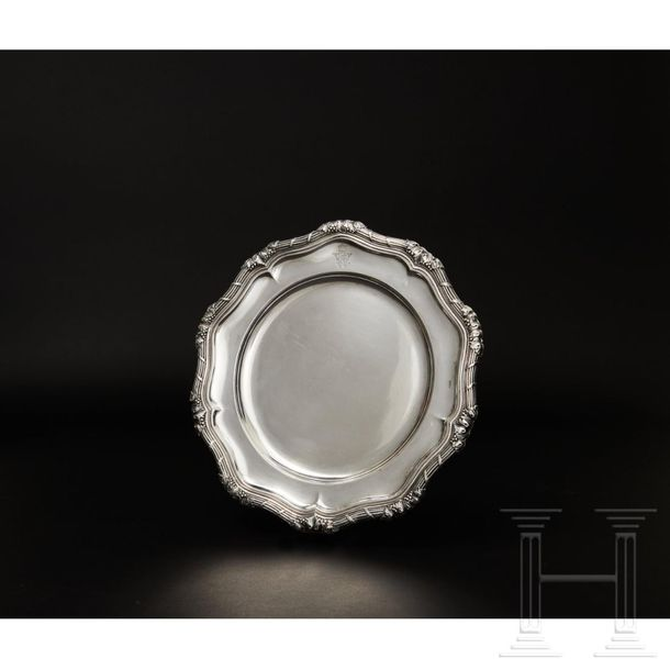 Two German silver plates and a dish with the monogram of Kaiser Wilhelm II below…