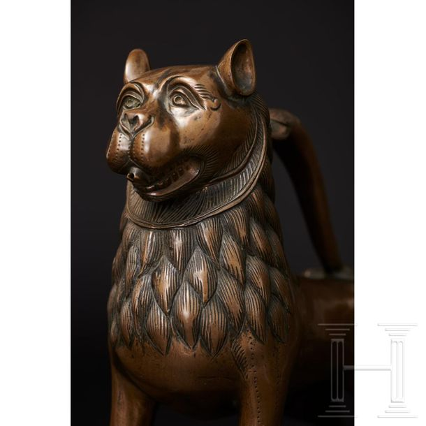 A Lower Saxon lion aquamanile, 14th century The spouted vessel in the shape of a…