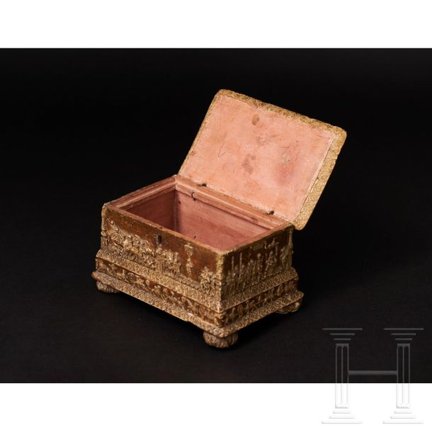 A rare Italian Renaissance pastiglia box, early 16th century The box shaped, woo…