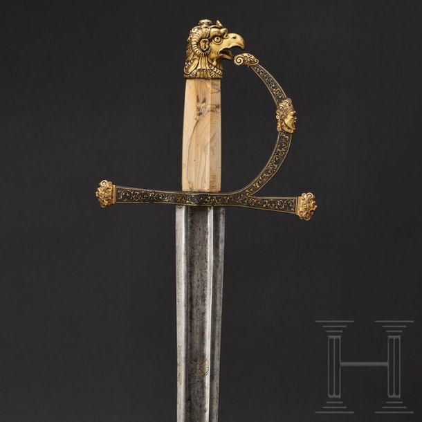 A significant Renaissance splendid sword with a Gothic blade, Fontainebleau, cir…