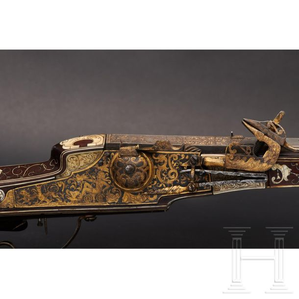 A South German deluxe Renaissance wheellock rifle with fine bone inlays, circa 1…