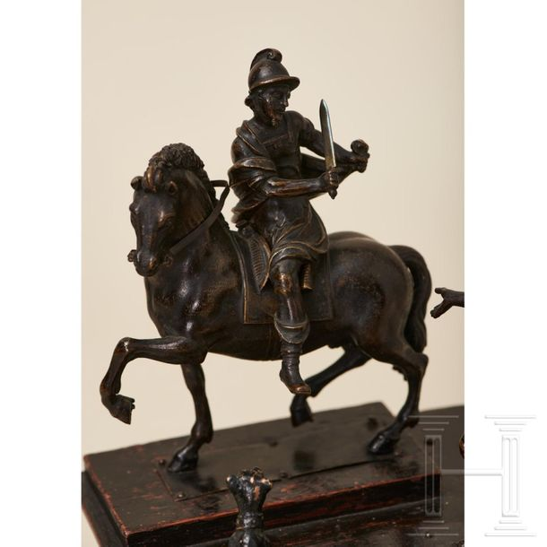 A North Italian group of bronze figures, St Martin on horseback with a beggar an…