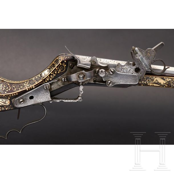 A deluxe Silesian Teschen rifle with lavish bone inlays, circa 1660 The slender,…