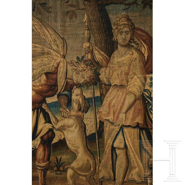 An extremely fine Flemish tapestry with Artemis and Apollo, 17th century The lar…