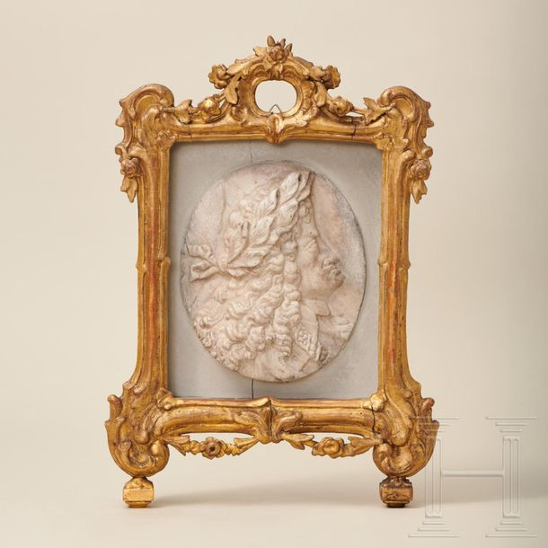 A Viennese marble tondo with a portrait head of Kaiser Leopold I, Strudel worksh…