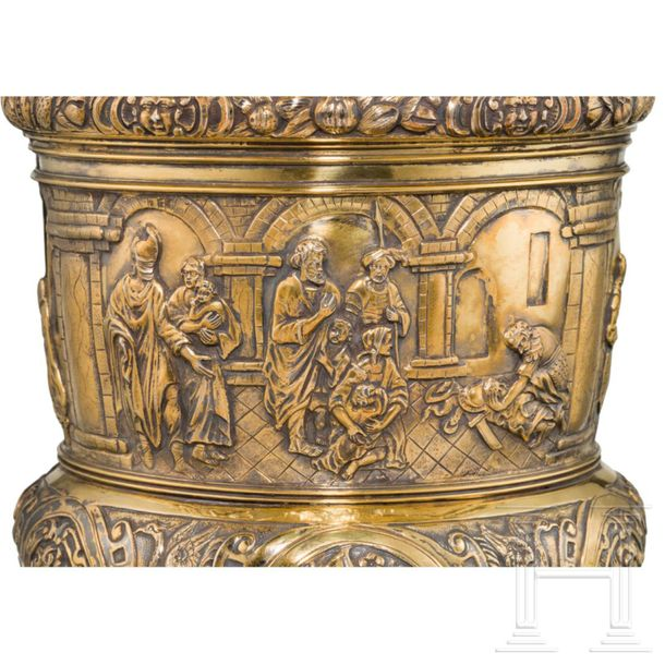 A monumental German lidded vermeil trophy cup, 2nd half of the 19th century Gilt…