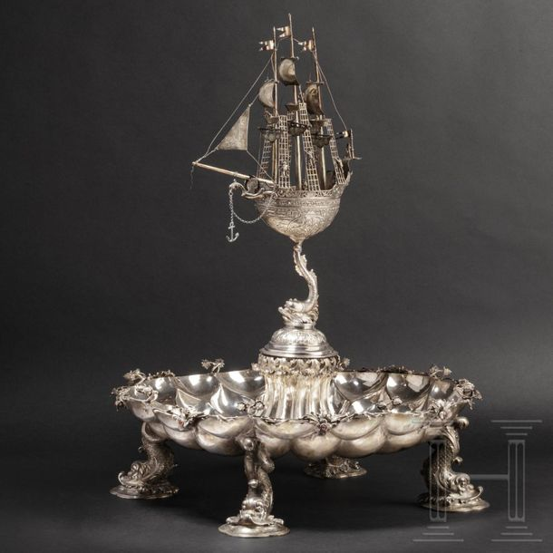 An imposing German table centrepiece with almandine cabochons, circa 1900 Silver…