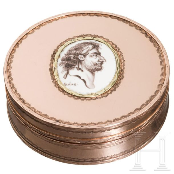 A French courtly pillbox with a portrait of the physician Aulus Cornelius Celsus…