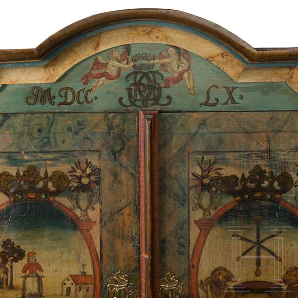 An unusual German baroque cabinet as an armoire of the tanners' guild, 18th cent…