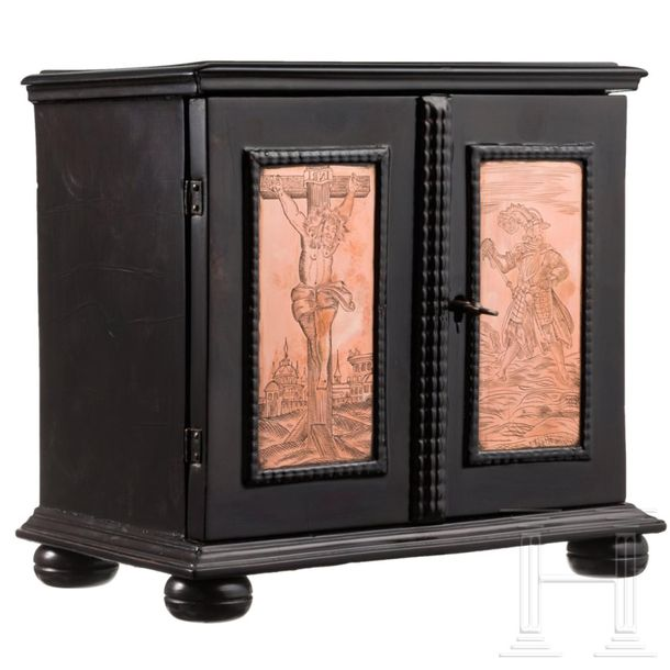 A Flemish miniature ebony cabinet case with engraved copper plaques, 1st half of…