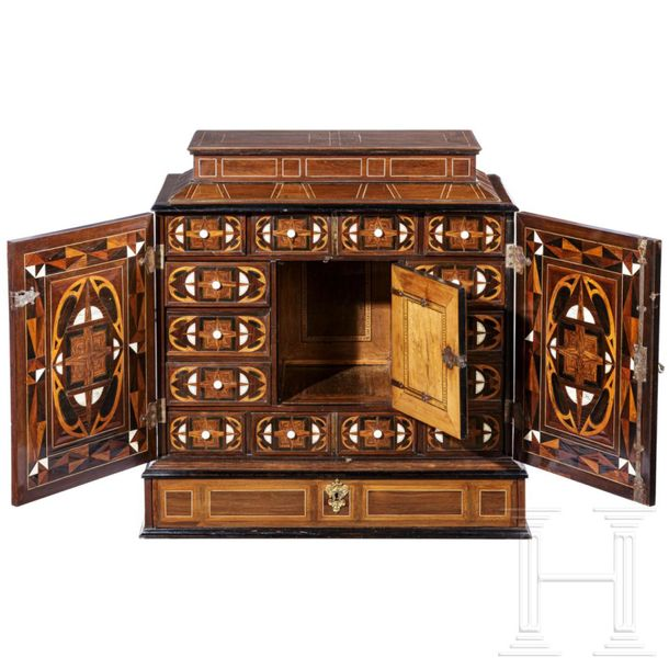 A large baroque cabinet with fine marquetry embellishment, probably Antwerp, 17t…