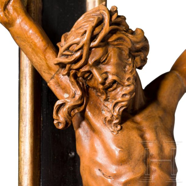 A fine and imposing Austrian/South German free standing Rococo crucifix with lun…