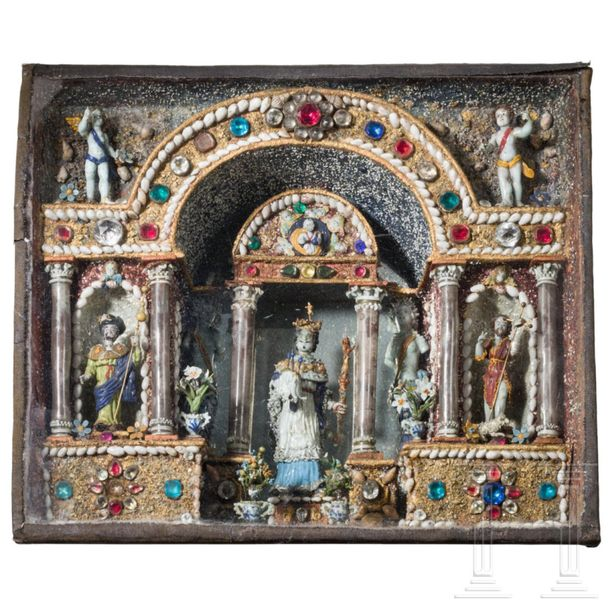 A rare French Louis XIII house altar of glass, Nevers, circa 1630 The figures, a…