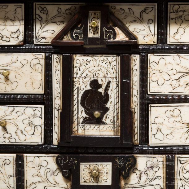 A miniature cabinet with ivory and bone panels, stamped with pinecone mark for A…